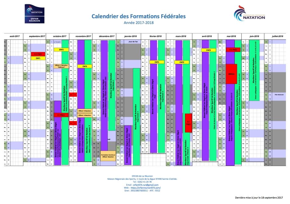 Calendrier FF 2017-2018